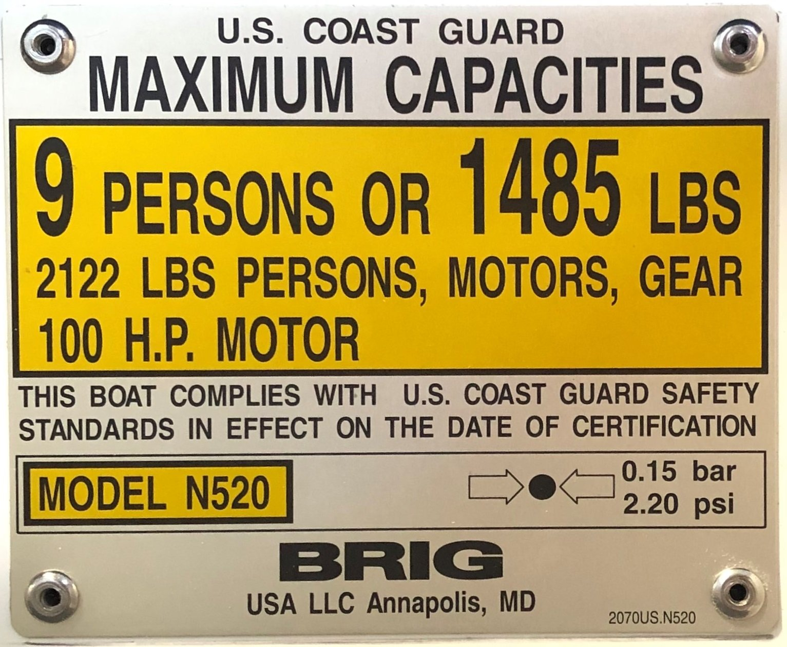 USCG Maximum Capacities Plate